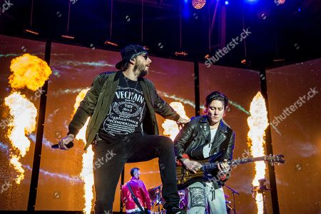 Stock Photo of M. Shadows, Synyster Gates, Matthew Charles Sanders, Brian Elwin Haner Jr. M. Shadows, left, and Synyster Gates of Avenged Sevenfold perform at the Rock On The Range Music Festival at Mapfre Stadium, in Columbus, Ohio