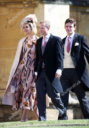 Lizzie Wilson, Guy Pelly, and James Meade, from left, arrive for the wedding ceremony of Prince Harry and Meghan Markle at St. George's Chapel in Windsor Castle in Windsor, near London, England