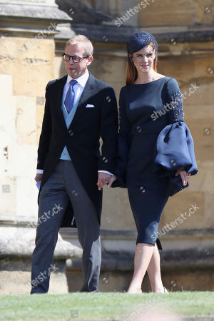 Sarah Rafferty and her husband Santtu Seppala arrive for the wedding ceremony of Prince Harry and Meghan Markle at St. George's Chapel in Windsor Castle in Windsor, near London, England