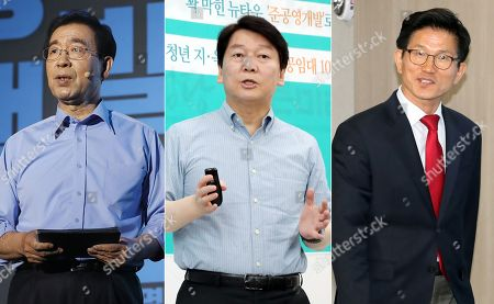 A composite image of three photos taken 20 May 2018 shows the candidates in the Seoul mayoral election, which will be held as part of the June 13 local elections. They are: current Seoul Mayor Park Won-soon (L), who is seeking another four-year term; Kim Moon-soo (R), a former Gyeonggi Province governor with the main opposition Liberty Korea Party; and Ahn Cheol-soo, a former software mogul who now leads the minor opposition Bareunmirae Party.