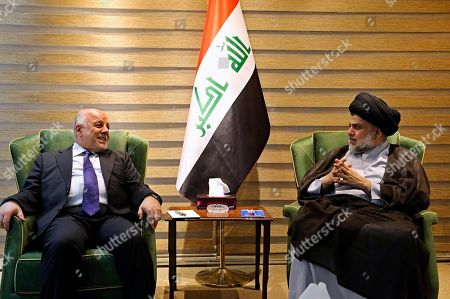 "Haider al-Abadi, Muqtada al-Sadr. In this photo provided by the Iraqi government, Iraqi Prime Minister Haider al-Abadi, left, meets with Shiite cleric Muqtada al-Sadr in the heavily fortified Green Zone in Baghdad, Iraq, early . Shiite cleric Muqtada al-Sadr, whose coalition won the largest number of seats in Iraq's parliamentary elections, says the next government will be ""inclusive."" The May 12 vote did not produce a single bloc with a majority, raising the prospect of weeks or even months of negotiations to agree on a government"