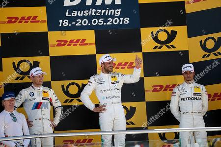 20.05.2018, Lausitzring, Klettwitz, DTM 2018, 3.Lauf Lausitzring,18.05.-20.05.2018 ,  winner  Gary Paffett (GBR#2) Mercedes-AMG Mogoalsport Petronas, Mercedes-AMG C 63 DTM, 2.Platz fuer Marco Wittmann (DEU#11) BMW Team RMG, Red Bull BMW M4 DTM , 3.Platz fuer Pascal Wehrlein (DEU#94) Mercedes-AMG Mogoalsport Petronas, Mercedes-AMG C 63 DTM