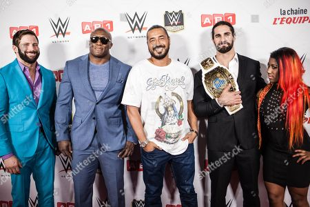 Stock Image of Zack Ryder, Booby Lashley, Moundir, guest, Seth Rollins and Ember Moon