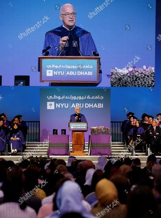 NYU President Andrew Hamilton gives his speech during the fifth edition of the University's Commencement Exercises of New York University Abu Dhabi (NYUAD) in Abu Dhabi, United Arab Emirates, 20 May 2018. The event also includes a celebration of NYU Abu Dhabi graduating of 253 graduates from over 71 countries make up the Class of 2018, representing the world's leading young talent in the fields of science, arts and humanities, and social science. This graduating class includes two Rhodes Scholars, two Fulbright Scholars, and soon-to-be graduate students in universities such as the University of Oxford, Harvard University, Stanford University, and Duke University.