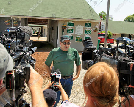 Assistant trainer Jimmy Barnes faces the assembled media outside Barn 33 after bringing Preakness Stakes and Kentucky Derby champion Justify back to Churchill Downs in Louisville, Ky., from Baltimore, to train for The Belmont Stakes in New York in June and a possible Triple Crown championship