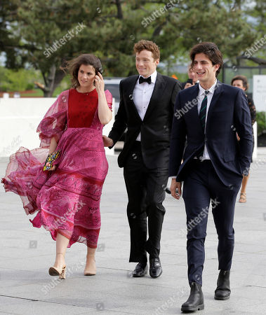 Tatiana Schlossberg, George Moran, Jack Schlossberg. Tatiana Schlossberg, left, granddaughter of former U.S. President John F. Kennedy, her husband, George Moran, center, and Jack Schlossberg, right, grandson of the late President Kennedy, arrive at the John F. Kennedy Presidential Library and Museum before 2018 Profile in Courage award ceremony, in Boston