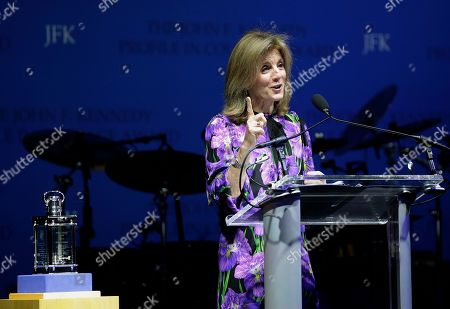Caroline Kennedy, daughter of President John F. Kennedy, addresses an audience before presenting former New Orleans Mayor Mitch Landrieu with the 2018 John F. Kennedy Profile in Courage Award, left, during ceremonies at the John F. Kennedy Presidential Library and Museum, in Boston