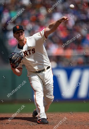Recovered from Tommy John surgery, San Francisco Giants relief pitcher Will Smith (13), throws during a MLB baseball game between the Colorado Rockies and the San Francisco Giants at AT&T Park in San Francisco, California