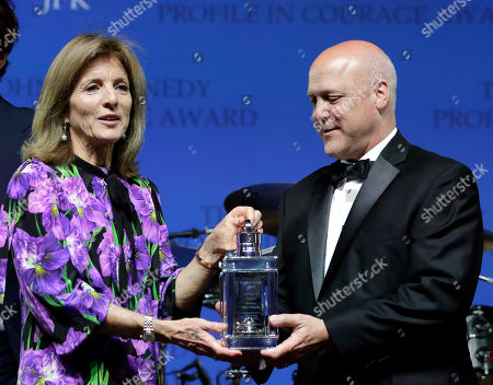 Caroline Kennedy, Mitch Landrieu. Caroline Kennedy, left, daughter of President John F. Kennedy, presents former New Orleans Mayor Mitch Landrieu, right, with the 2018 John F. Kennedy Profile in Courage Award during ceremonies at the John F. Kennedy Presidential Library and Museum, in Boston. Landrieu was presented with the award for his leadership in removing Confederate memorials in his city