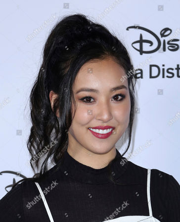 Lyrica Okano arrives at the Disney's International Upfront Red Carpet at Disney Studios, in Burbank, Calif