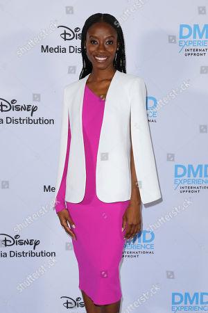 Sibongile Mlambo arrives at the Disney's International Upfront Red Carpet at Disney Studios, in Burbank, Calif