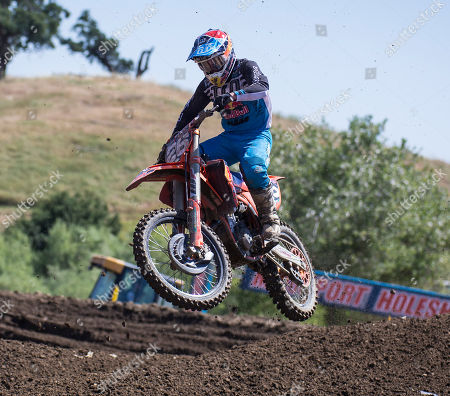 Rancho Cordova, CA : # 26 Alex Martin gets air coming out of turn16 during the Lucas Oil Pro Motocross Championship 250cc class championship at Hangtown Motocross Classic Rancho Cordova, CA Thurman James / CSM
