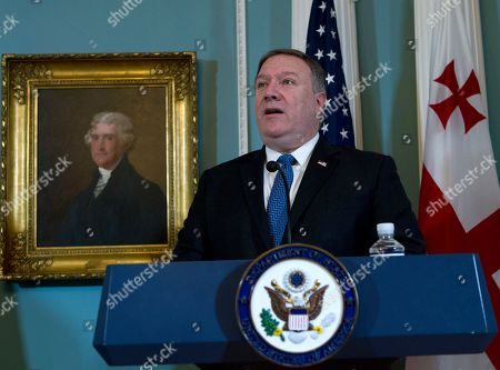 Stock Photo of Secretary of State Mike Pompeo speaks during a news conference before a bilateral meeting with Georgian Prime Minister Giorgi Kvirikashvili at State Department, in Washington