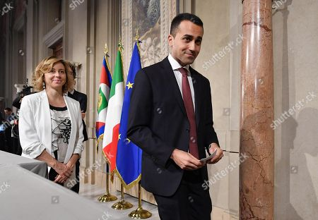 Five-Star Movement (M5S) leader Luigi Di Maio (R), accompanied by party colleague Giulia Grillo (L), leaves a press briefing after meeting with Italian President Mattarella at the Quirinal Palace, in Rome, Italy, 21 May 2018. 5-Star Movement (M5S) leader Di Maio and League chief Matteo Salvini will report to President Sergio Mattarella later after finalising a deal for a new government at the weekend.