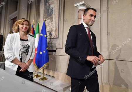 Five-Star Movement (M5S) leader Luigi Di Maio (R), accompanied by party colleagues Giulia Grillo (C) and Danilo Toninelli (L), addresses the media after a meeting with Italian President Sergio Mattarella at the Quirinal Palace, Rome, Italy, 21 May 2018. 5-Star Movement (M5S) leader Di Maio and League chief Matteo Salvini will report to President Sergio Mattarella later after finalising a deal for a new government at the weekend.