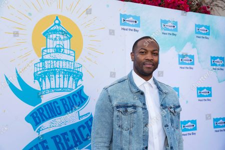 Stock Image of Ser'Darius Blain arrives at the 2018 Heal the Bay Bring Back the Beach Gala, celebrating the accomplishments of honorees Los Angeles Mayor Eric Garcetti, Univision news anchor Gabriela Teissier and sustainability advocates Zooey Deschanel and Jacob Pechenik at The Jonathan Club on Thursday, May 17, in Santa Monica, CA. (Photo by [Colin Young-Wolff/Invision/AP