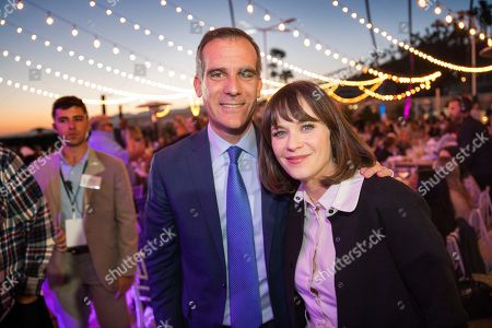 Eric Garcetti, Zooey Deschanel. Eric Garcetti and Zooey Deschanel attend the 2018 Heal the Bay Bring Back the Beach Gala, celebrating the accomplishments of honorees Los Angeles Mayor Eric Garcetti, Univision news anchor Gabriela Teissier and sustainability advocates Zooey Deschanel and Jacob Pechenik at The Jonathan Club on Thursday, May 17, in Santa Monica, CA