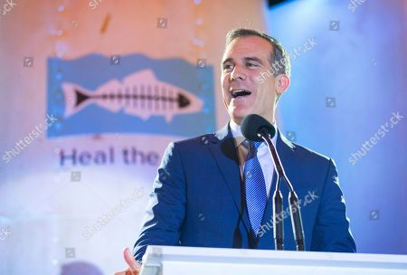Eric Garretti speaks at the 2018 Heal the Bay Bring Back the Beach Gala, celebrating the accomplishments of honorees Los Angeles Mayor Eric Garcetti, Univision news anchor Gabriela Teissier and sustainability advocates Zooey Deschanel and Jacob Pechenik at The Jonathan Club on Thursday, May 17, in Santa Monica, CA