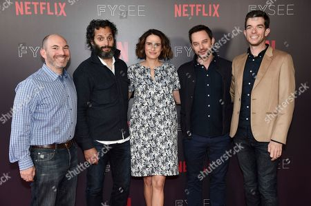 "Andrew Goldberg, Jason Mantzoukas, Jessi Klein, Nick Kroll, John Mulaney. Andrew Goldberg, from left, Jason Mantzoukas, Jessi Klein, Nick Kroll and John Mulaney attend the ""Big Mouth"" and ""BoJack Horseman"" Animation Panel FYSEE event at Raleigh Studios Hollywood, in Los Angeles"