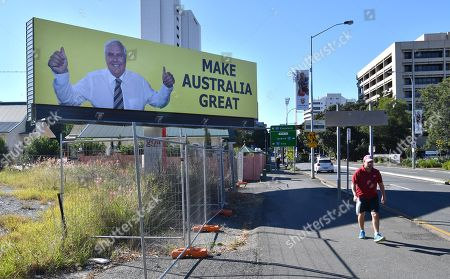 A billboard featuring Australian businessman and former politician Clive Palmer is seen on Vulture Street in the Brisbane suburb of Woolloongabba, Queensland, Australia, 22 May 2018. Palmer was the leader of the Palmer United Party and held the seat of Fairfax in the federal parliament until 2016.
