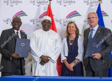 Adama Barrow, Amadou Sanneh, Neven Mimica and Federica Mogherini