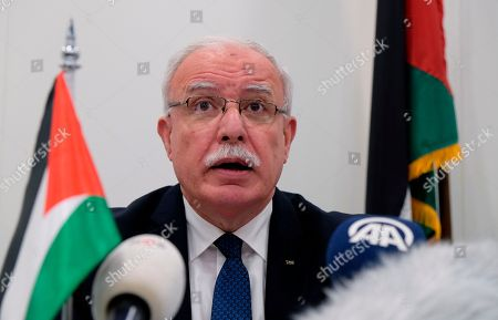 """Palestinian Foreign Minister Riad Malki speaks during a press conference at the International Criminal Court on . The Palestinian foreign minister asked the International Criminal Court on Tuesday to open an """"immediate investigation"""" into alleged Israeli """"crimes"""" committed against the Palestinian people"""