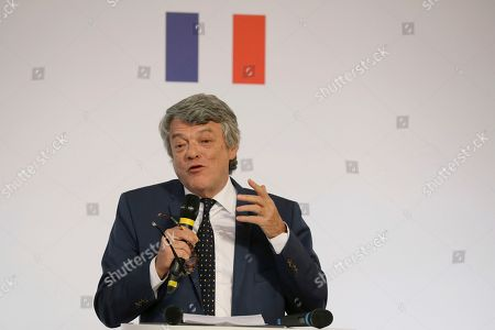 Former French Environment minister Jean-Louis Borloo, in charge of a mission on the priority neighborhoods in the French urban policy, presents the battle plan for the country's most deprived areas, in Paris