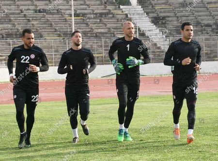 (L to R) Tunisia's goalkeepers Moez Ben Cherifia, Mouez Hassen, Farouk Ben Mustapha and Aymen Mathlouthi