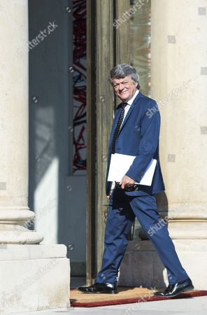 Former Environment Minister Jean-Louis Borloo arriving at the Elysee palace for the meeting of presidential council of cities, in Paris