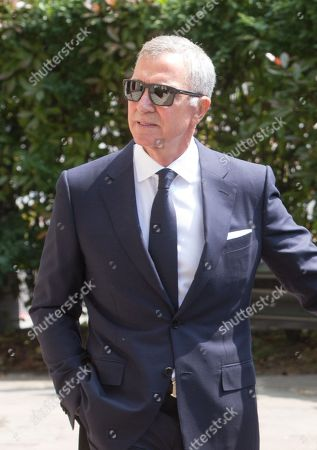Football pundit and former player Graeme Souness, arrives for the funeral of Dale Winton