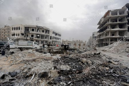 A general view for the damaged building in Yarmouk Camp district in south Damascus, Syria, 22 May 2018. Media reports state the Syrian government of Bashar al-Assad on 21 May recaptured the last area of Damascus under opposition control and took full control of the capital for the first time since the outbreak of the civil war in 2011, after groups of Islamic State (IS) fighters holed up in an area of south Damascus, including the Palestinian refugee camp Yarmouk, were bussed out.