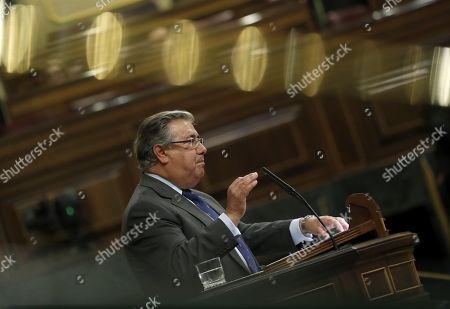 Spanish Interior Minister, Juan Ignacio Zoido, delivers a speech during a plenary session at the Parliament's Lower House to debate the sections and amendments to the General State Budget 2018 in Madrid, Spain, 22 May 2018. The General State Budget will be voted at the Parliament on 23 May.