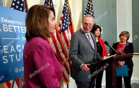 Alex Ovechkin, Chuck Schumer, Nancy Pelosi, Lily Eskelsen Garcia, Randi Weingarten. Sen. Chuck Schumer, D-NY., center, with from l-r., House Minority Leader Nancy Pelosi of Calif., Lily Eskelsen Garcia, President, National Education Association and Randi Weingarten, President, American Federation of Teachers, announcing a proposal to increase teacher pay during a news conference on Capitol Hill in Washington