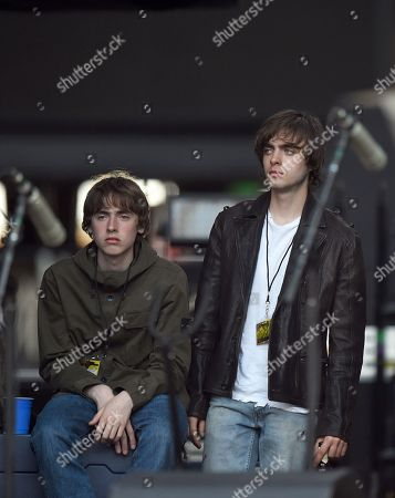 Lennon Gallagher (R) and Gene Gallagher (L) watch their father Liam Gallagher performance live on stage during The Rolling Stones 'No Filter' tour in London stadium in London, Britain, 22 May 2018.