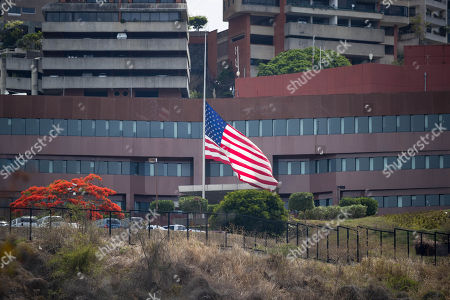 Stock Image of External view of the United States embassy in Caracas, Venezuela, 22 May 2018. Venezuelan President Nicolas Maduro today declared persona non grata the Charge d'affaires of the United States in Caracas, Todd Robinson, and gave him 48 hours to leave the country.
