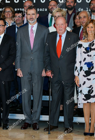 King Felipe VI of Spain, King Juan Carlos and President of COTEC Foundation Cristina Garmendia