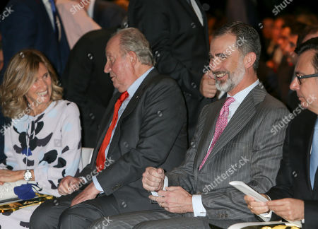 Stock Image of President of COTEC Foundation Cristina Garmendia, King Juan Carlos and King Felipe VI of Spain