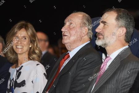 Spain King Felipe VI and King Juan Carlos and and Innovation Minister Cristina Garmendia during the launch of 2018 Cotec Report in Madrid.