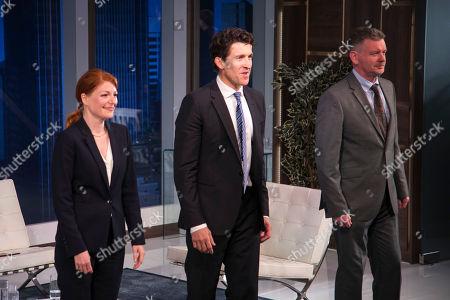 Laura Pitt-Pulford (Melanie), Jonathan Cake (Frank) and John Gordon Sinclair (Rick) during the curtain call
