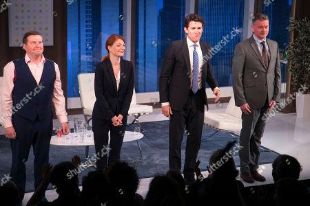 Greg McHugh (Carl), Laura Pitt-Pulford (Melanie), Jonathan Cake (Frank) and John Gordon Sinclair (Rick) during the curtain call