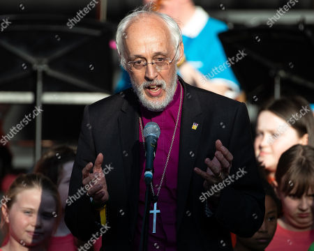 Bishop David Walker. Manchester Together choir vigil in front of Manchester Town Hall, on the first anniversary of the Manchester Arena bombing.
