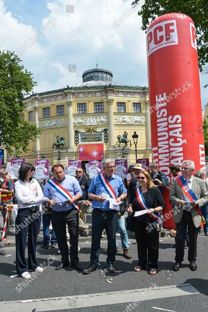 Pierre Laurent of PCF - French Communist Party. Demonstration in Paris of Place de la Republique at Place de la Nation, May 22, 2018, to defend the status of civil servants and public services and oppose the reform of the government of Emmanuel Macron.
