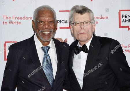 Morgan Freeman, Stephen King. Actor Morgan Freeman, left, chats with writer Stephen King at the 2018 PEN Literary Gala at the American Museum of Natural History, in New York