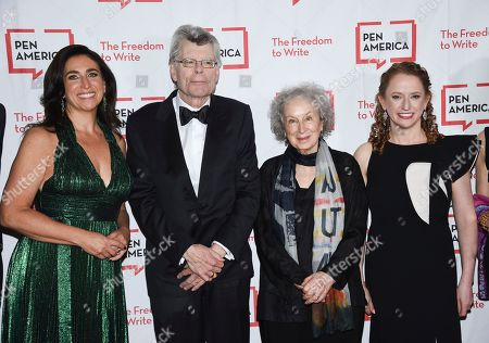 Roxanne Donovan, Stephen King, Margaret Atwood, Suzanne Nossel. Roxanne Donovan, left, Stephen King, Margaret Atwood and PEN America executive director Suzanne Nossel attend the 2018 PEN Literary Gala at the American Museum of Natural History, in New York