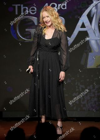 "Paula Malcomson accepts the award for best actress in a breakthrough role for ""Ray Donovan"" at the 43rd annual Gracie Awards at the Beverly Wilshire Hotel, in Beverly Hills, Calif"