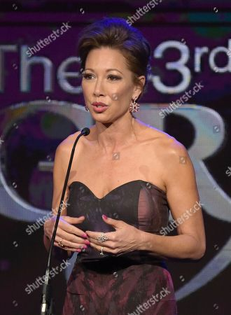 Lisa Joyner speaks at the 43rd annual Gracie Awards at the Beverly Wilshire Hotel, in Beverly Hills, Calif