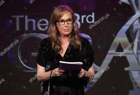 """Elizabeth Marvel accepts the award for best actress in a supporting role - drama for """"Homeland"""" at the 43rd annual Gracie Awards at the Beverly Wilshire Hotel, in Beverly Hills, Calif"""