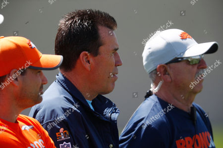 Gary kubiak. Gary Kubiak, senior personnel advisor for the Denver Broncos, looks on as players take part in a drill during an NFL football minicamp session, at the team's headquarters in Englewood, Colo