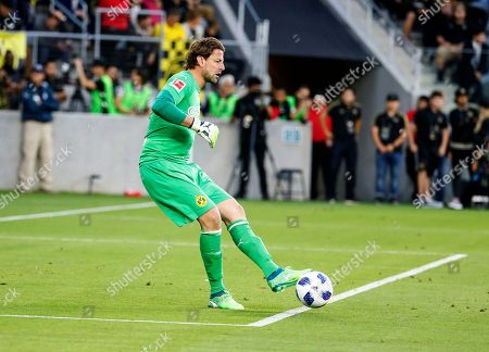 Borussia Dortmund goalkeeper Roman Weidenfeller (1) of Germany in actions during an international friendly soccer game between Los Angeles FC and Borussia Dortmund in Los Angeles, . The game ended in a 1-1 draw