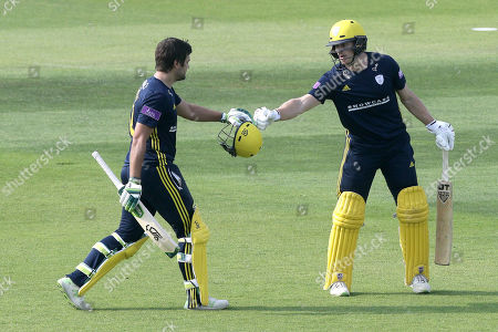 Rilee Rossouw of Hampshire is congratulated by Jimmy Adams after reaching his century during Hampshire vs Essex Eagles, Royal London One-Day Cup Cricket at the Ageas Bowl on 23rd May 2018